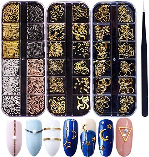 3-d Nails Art Metal Charms Studs Jewels Decals Decorations Accessories 800+Pieces Gold Nail Micro Caviar Beads Star Moon Rivet Design Supplies with Tweezers Nail Tools