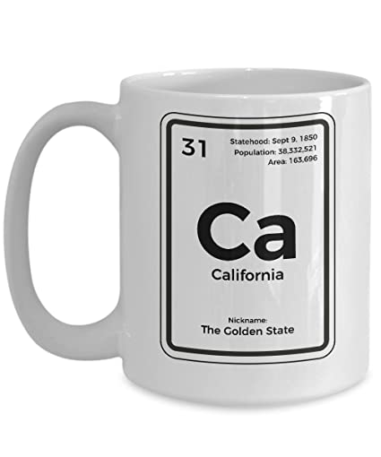 Amazon California Periodic Table Coffee Mug Golden State Gift