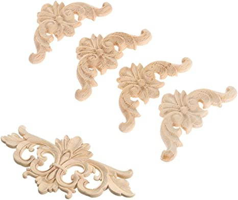 Vintage Classic Rubber Wood Carved Decal Craft Onlay Applique Furniture Decor