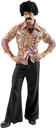 ORION COSTUMES Disfraz de Bailarín de Disco Hippie de los años 70 Camisa y Pantalones Acampanados para Hombres: Amazon.es: Ropa y accesorios