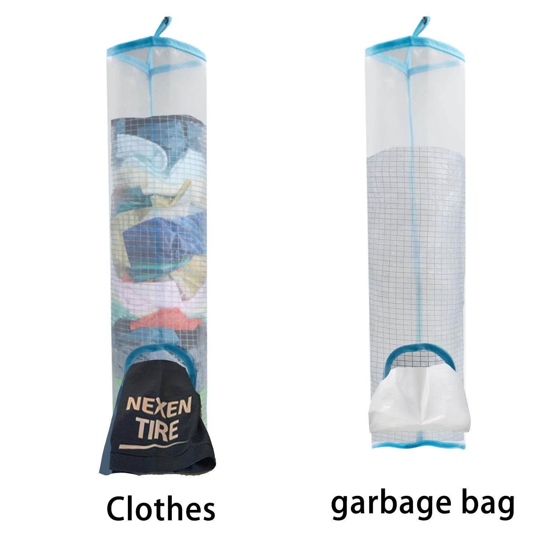 2 pcs Blue Lightweight Plastic Bag Organizer Holder, Grocery Bag Holder Plastic Foldable Breathable Washable Hanging Mesh Garbage Bag Organizer + 2 Hook Hanger for Kitchen Plastic Bag Storage