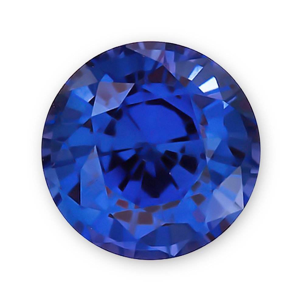 5.0mm Round Gem Quality Chatham Lab-Grown Blue Sapphire Weighs .59-.73 Ct.