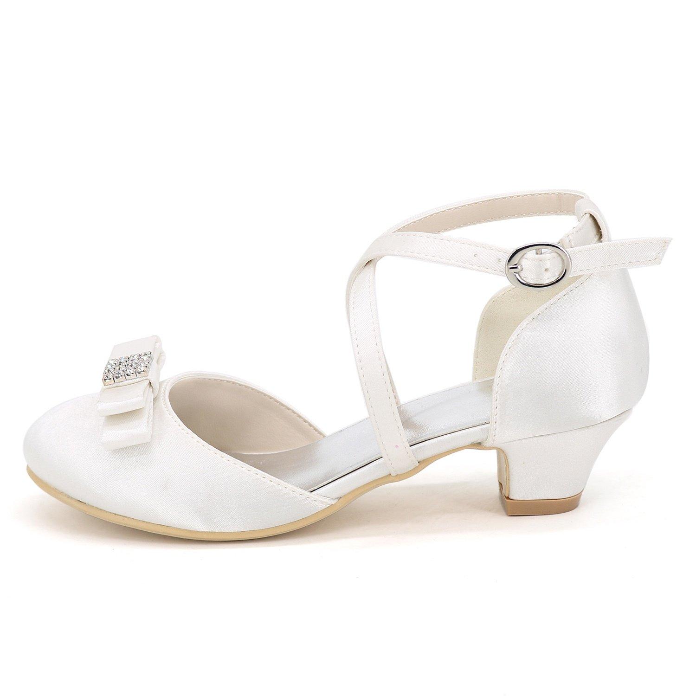 Elobaby KT2586 KT2586 KT2586 MäDchen Hochzeitsschuhe Satin Platform Kitten Lady Chunky Pumps Weiß Elfenbein Neue High Heels   3,5 cm Absatz 837834