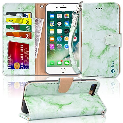 Arae Case for iPhone 7 Plus/iPhone 8 Plus, Premium PU Leather Wallet Case with Kickstand and Flip Cover for iPhone 7 Plus (2016) / iPhone 8 Plus (2017) 5.5 (not for iPhone 7/8) - Marble Green
