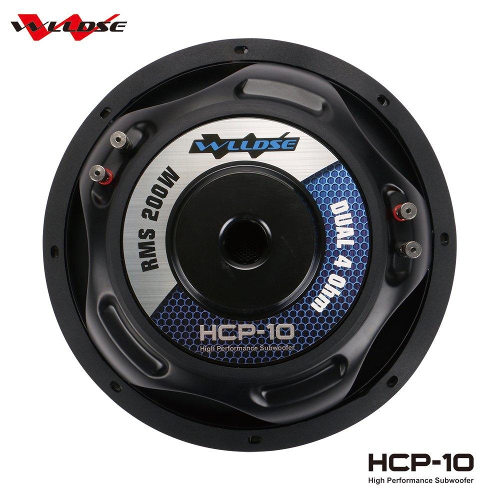 WLLDSE 10 Inch 600 Watt Peak Momentary Power Dual 4 Ohm Car Subwoofer Black HCP10