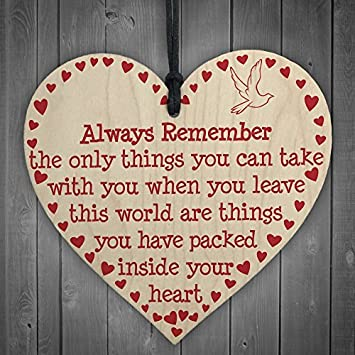 Amazon Com Heart Wooden Hanging Wall Sign Memorial Remembrance Gift