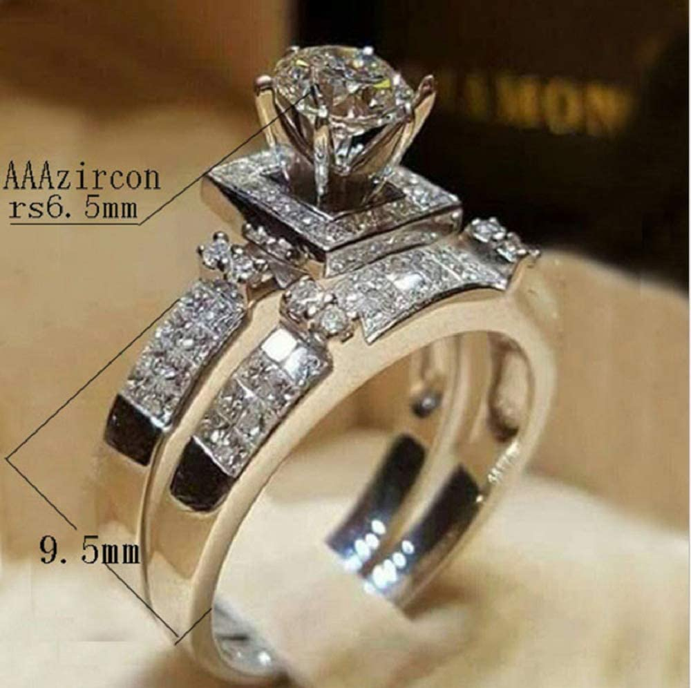 MAIHAO Chic Women Perfectly Cut top Crystal Round Cut Luxury White Sapphire Silver Ring Set Wedding Engagement Jewelry Gift Size6-10 US Cold 6