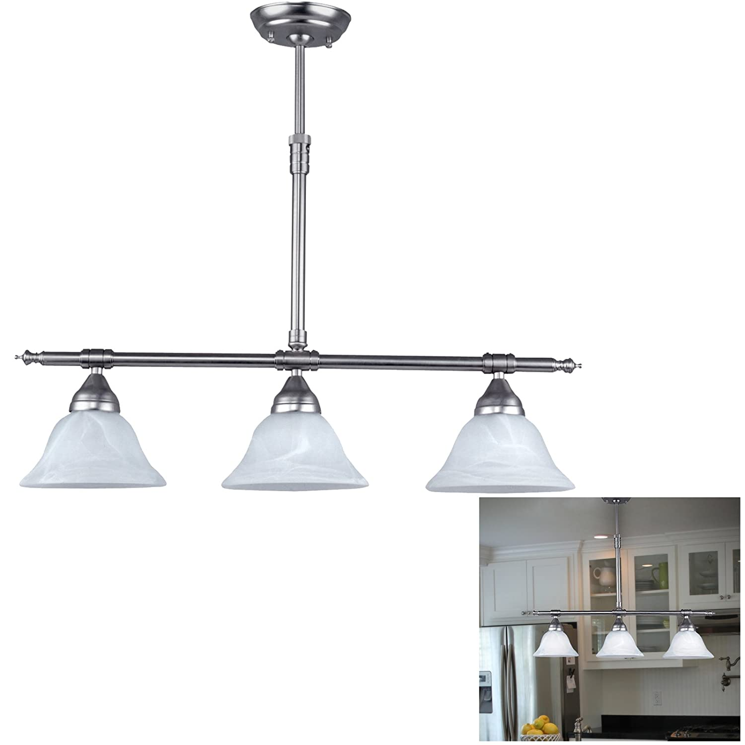 Brushed Nickel Island Pendant with Alabaster Glass Globes