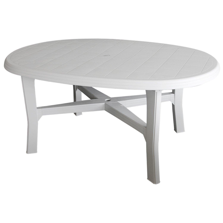 Gartentisch 165x110cm, oval, weiss - Vollkunststoff   Gartenmöbel Terrassenmöbel Campingmöbel Kunststofftisch Beistelltisch Terrassentisch Campingtisch
