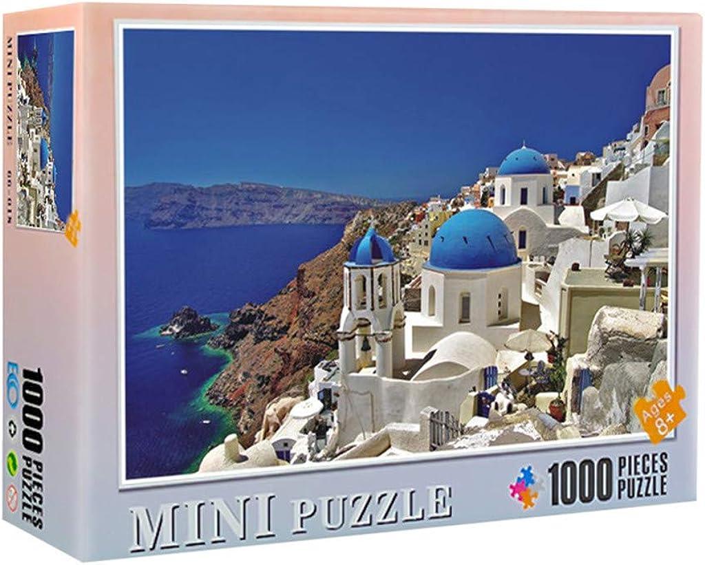 1000 Pieces Jigsaw Puzzles for Adults - Dreamy Aegean Sea Greece Santorini Island Landscape Jigsaw Puzzle + Glue Powder + Dry Beads + Prototype