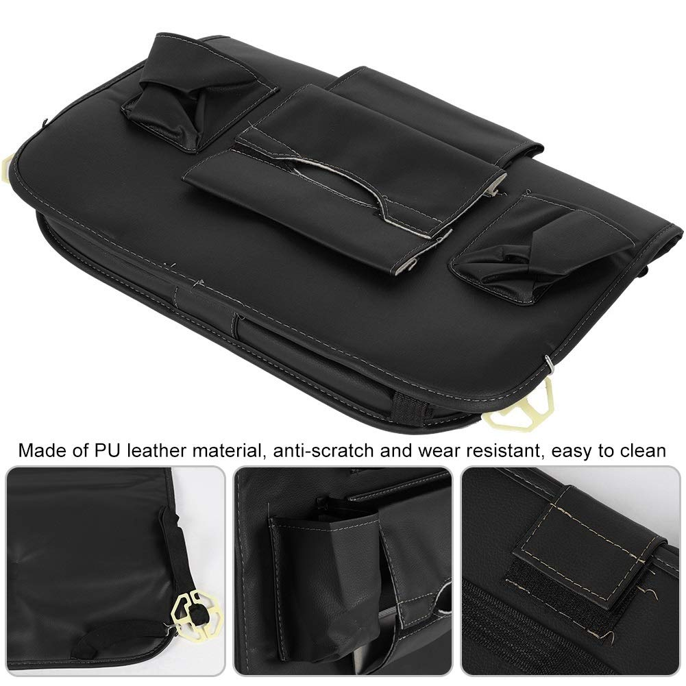 Car Seat Organizer - Multi-Purpose Leather Backseat Organizer PU Leather Storage Organizer Tray Pouch 2pcs Black by Delaman (Image #6)