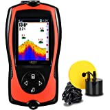 Lucky Portable Fish Finder Wired Sonar Sensor Transducer 328 Feet Water Depth Finder LCD Screen for Kayak Fishing Ice Fishing Sea Fishing