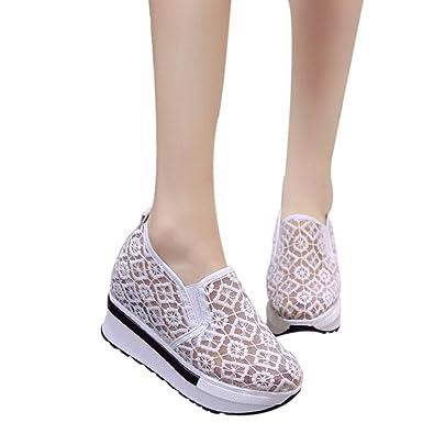 a4bbeb6b1f9 OHQ Augmenté Net Chaussures De Sport pour Femmes à Semelles éPaisses Blanc  Noir Casual Respirant Mesh Slope ÉPais Ville Cuir Blanche Ete Compensé ...