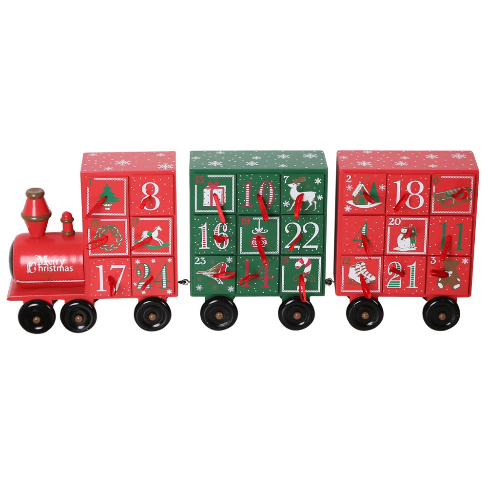 19.5 Inch Christmas Wooden Train Advent Calendar with 24 Drawers for Christmas Decor