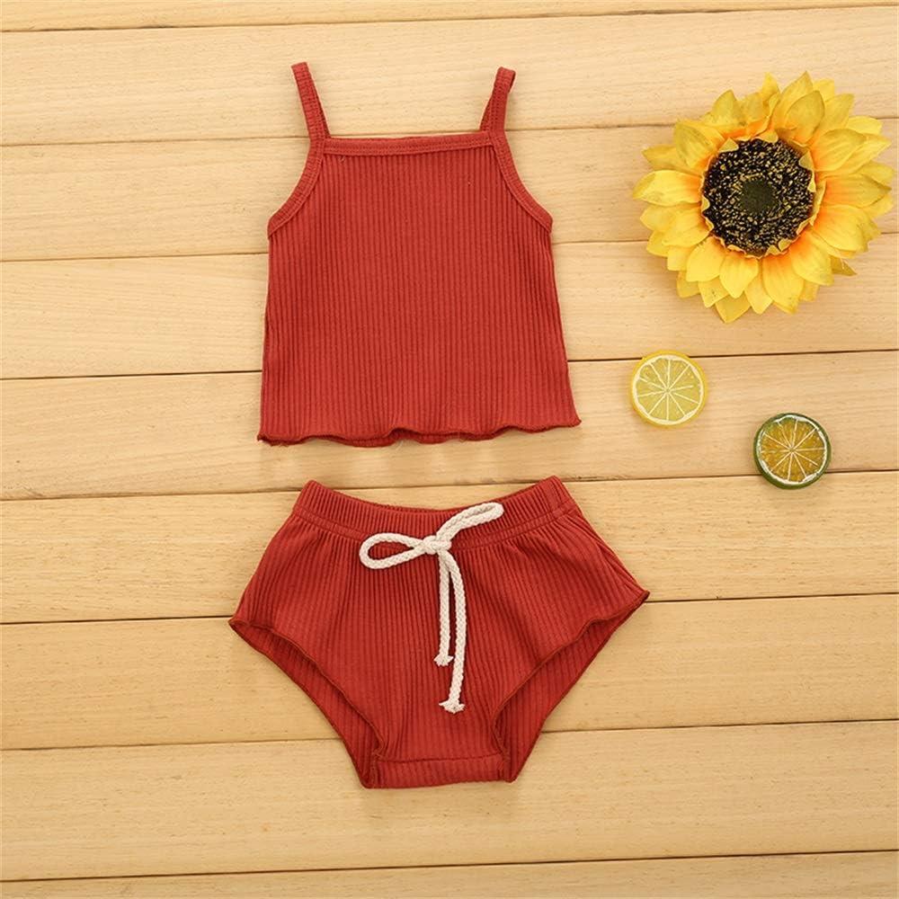 Newborn Infant Baby Girl Summer Clothes Sleeveless Shirt Ruffle Strap Dress Tops Short Pants Set Knitted Outfits