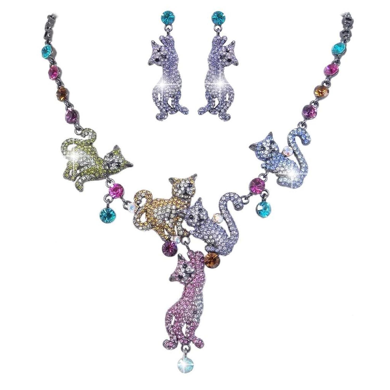EVER FAITH® Pet Cat Family Necklace Earrings Set Austrian Crystal
