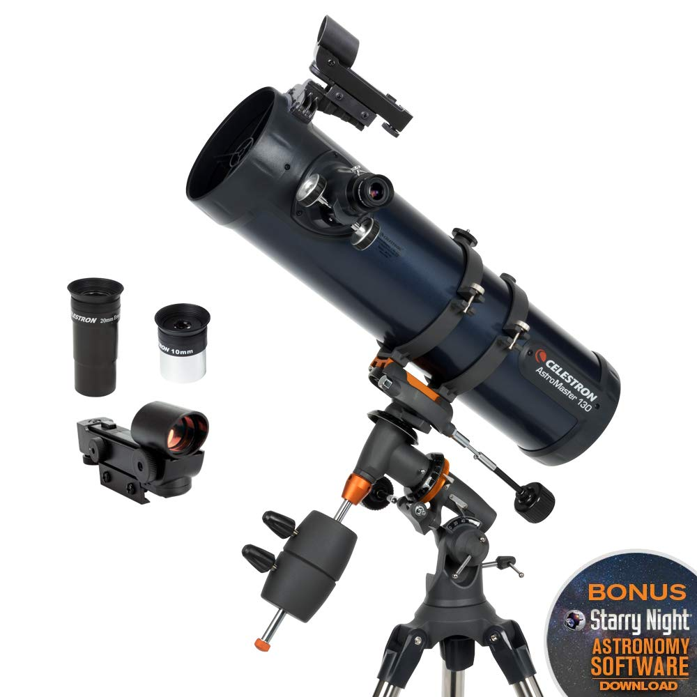 Celestron - AstroMaster 130EQ Newtonian Telescope - Reflector Telescope for Beginners - Fully-Coated Glass Optics - Adjustable-Height Tripod - BONUS Astronomy Software Package by Celestron