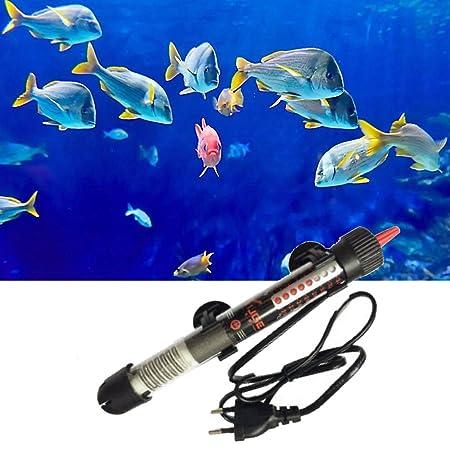Calentador sumergible Calefacción de varilla para Acuario Glass tanque de pescados Ajuste de temperatura de 50W EU Enchufe: Amazon.es: Hogar