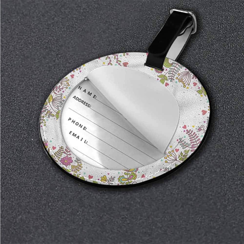 New Suitcase Luggage Tags Floral,Colorful Plants Foliage Round Luggage Tags