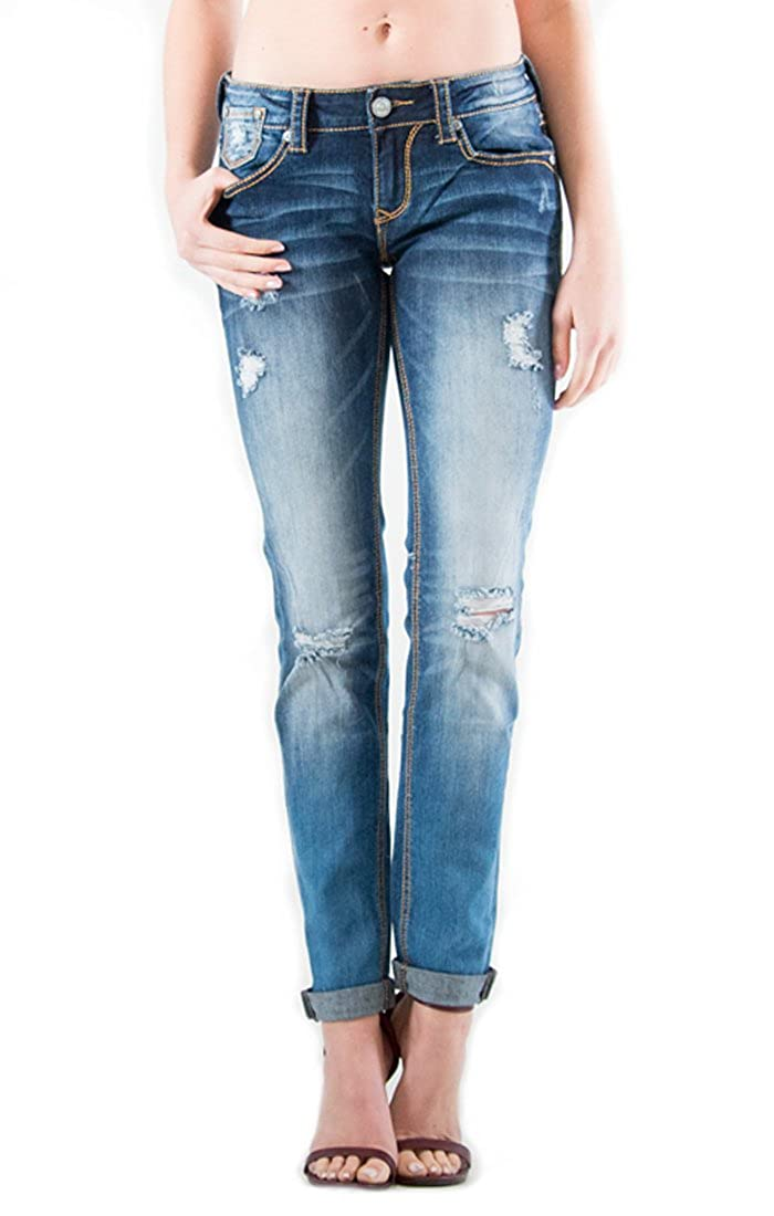 Skinny Jeans 26 Grace In LA Easy Fit Medium Wash Distressed Mid-Rise