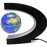 Senders Floating Globe with LED Lights C Shape Magnetic Levitation Floating Globe World Map for Desk Decoration (Blue)