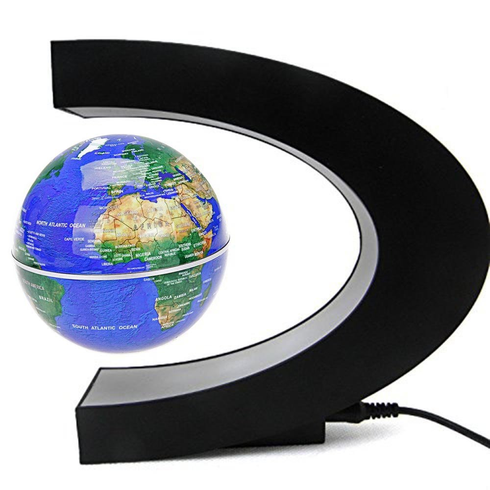 Senders Floating Globe with LED Lights C Shape Magnetic Levitation Floating Globe World Map for Desk Decoration (Dark Blue) by Senders