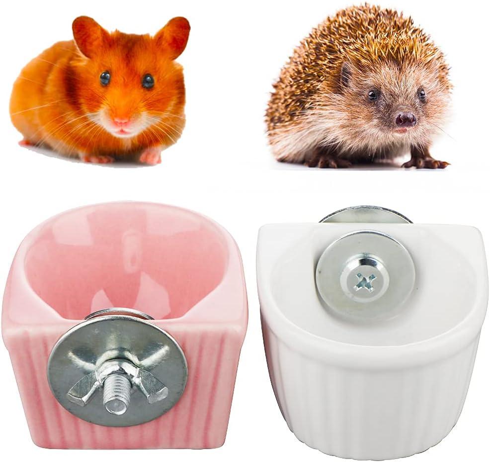 2 Pack Hedgehog Food Dish Hamster Ceramic Water & Food Feeder Detachable Cage Feeder for Hamster Hedgehog Squirrel Gerbil (Pink and White)