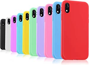 Pofesun Slim Fit iPhone XR Case, 10 Pack Soft Silicone Gel Rubber Bumper Phone Case Shockproof Full-Body Protective Case Cover Compatible for iPhone XR 6.1 inch (2018)