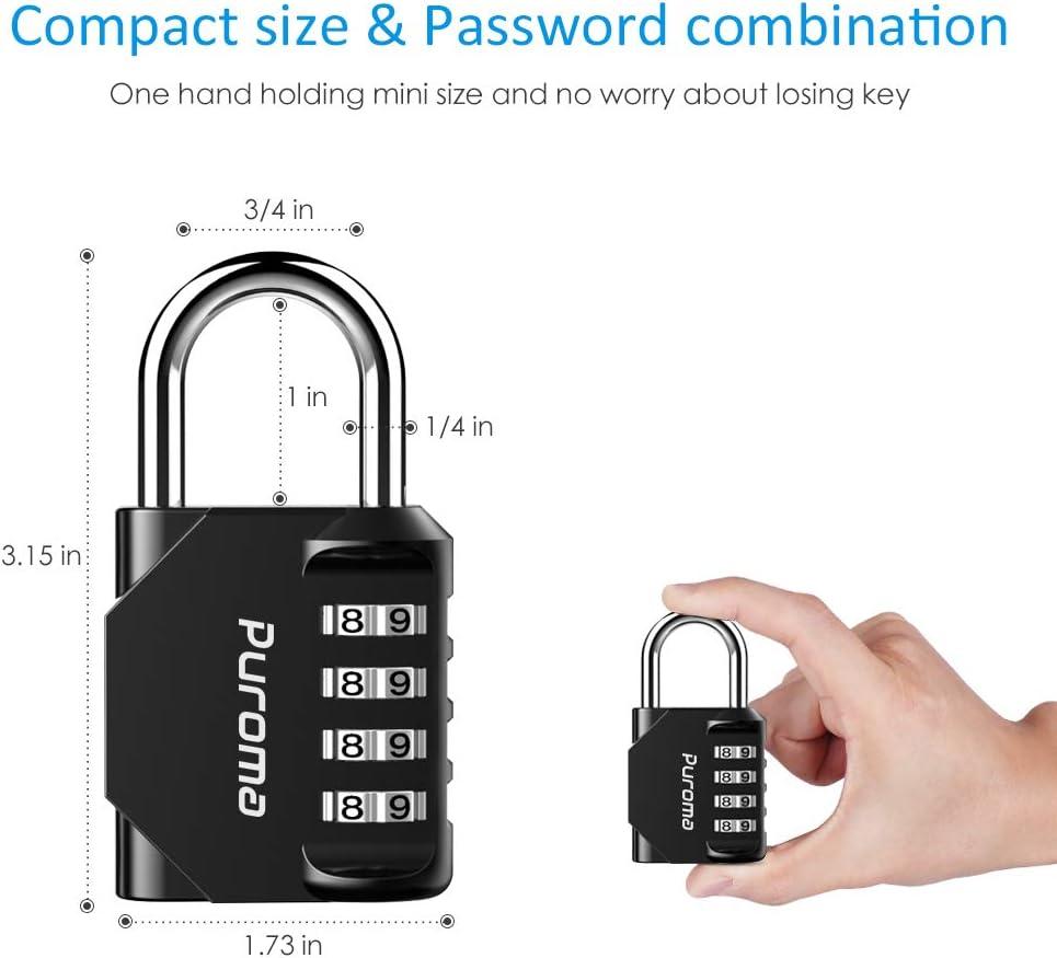 Fence Sports Locker Case Black Puroma 4 Pack Combination Lock 4 Digit Padlock for School Gym Locker Hasp Storage Toolbox