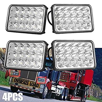 4PCS Super Bright LED Headlights for Western Star 4900 Semi Truck Peterbilt 357 378, 4x6 Sealed High Low Beam Replacement Kit H4651, H4652, H4656, H4666, H6545, H4642, H4668