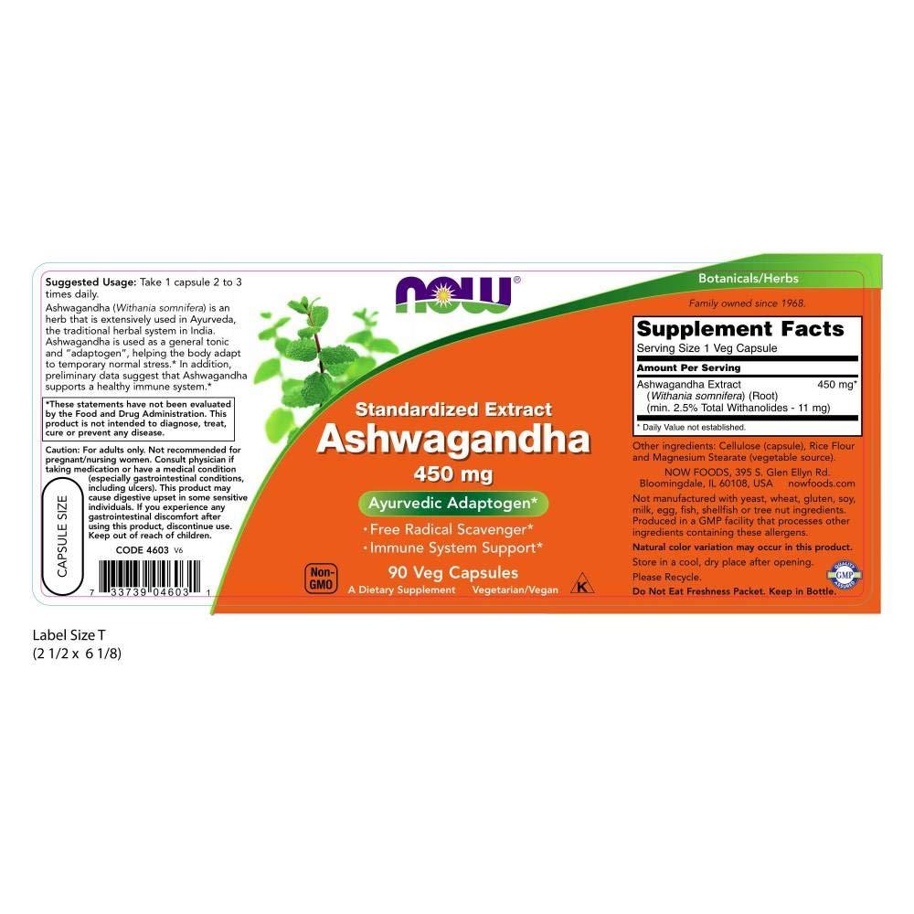 Now Foods | Ashwagandha | 450 mg | 90 cápsulas vegetarianas | sin soya y gluten: Amazon.es: Salud y cuidado personal