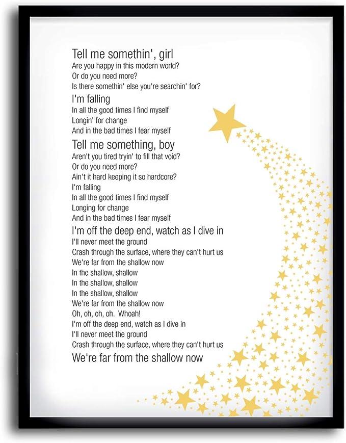 Amazon Com Póster Impreso De Shallow Lady Gaga A Star Is Born Song Lyrics A2 Home Kitchen