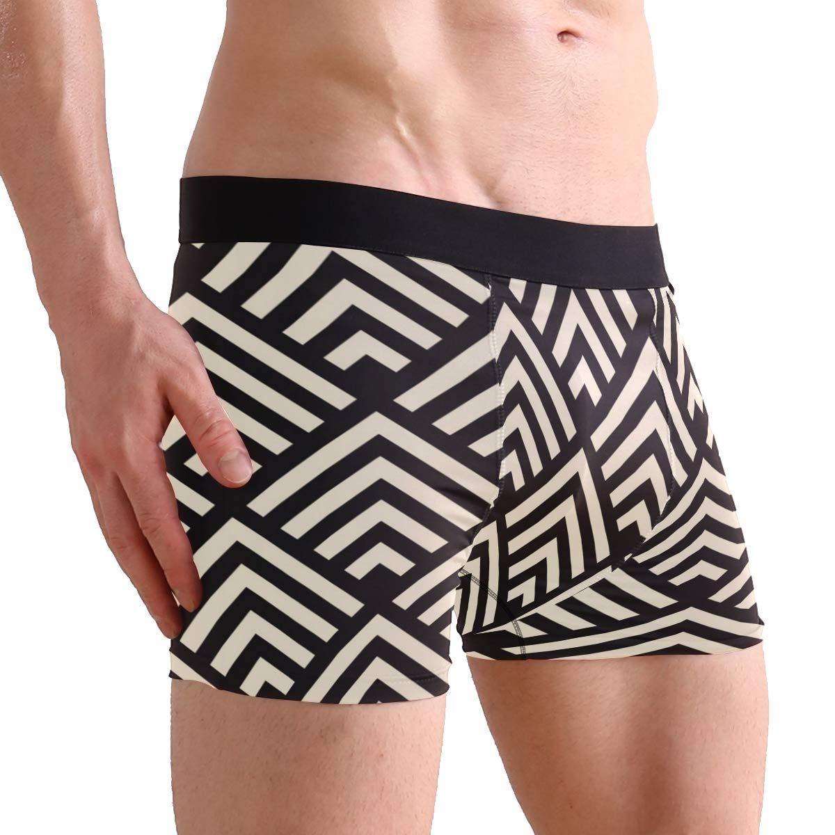 Mens 2-Pack Boxer Briefs Polyester Underwear Trunk Underwear with Art Deco Design