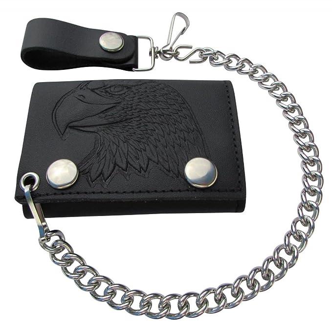 b4c2b93f7c61 Mascorro Leather Men's Embossed Eagle Head Trifold Chain Wallet