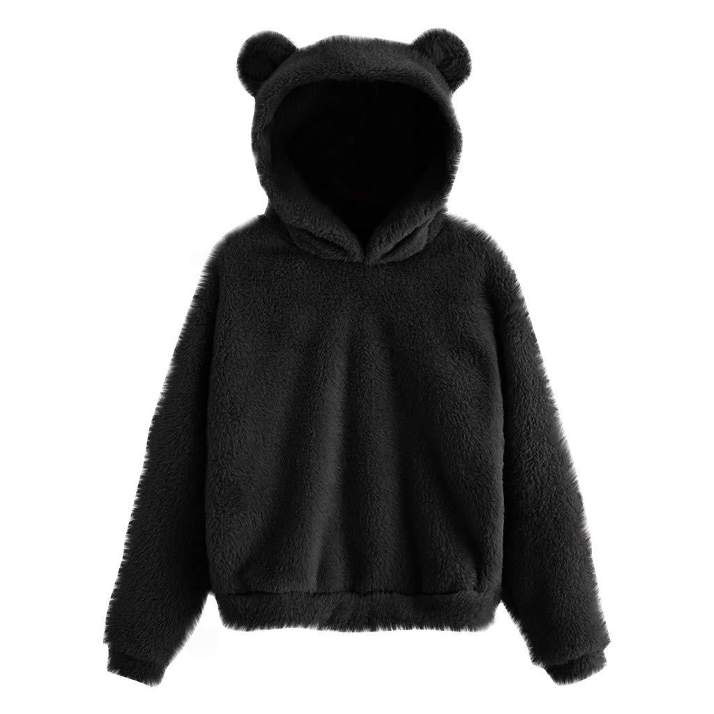 Juner Women's Long Sleeve Fleece Sweatshirt Warm Bear Shape Fuzzy Hoodie Pullover Outwear Black by Juner