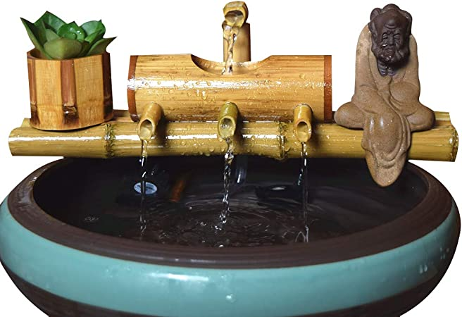 Amazon Com Tita Dong Bamboo Water Fountain Pond Circulation Water With Pump Water Feature Kit Indoor Outdoor Bamboo Tube Circulating Fountain For Home Office Decoration Garden Outdoor