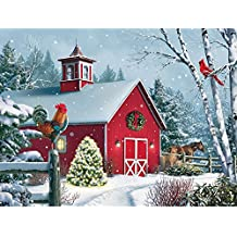 "Bits and Pieces - 300 Piece Jigsaw Puzzle for Adults 18""X24"" - Winter Barn II - 300 pc Jigsaw by Artist Alan Giana"