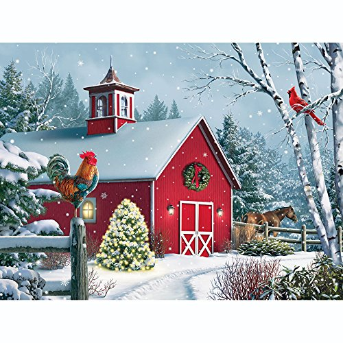 Bits and Pieces - 300 Piece Jigsaw Puzzle for Adults 18X24 - Winter Barn II - 300 pc Jigsaw by Artist Alan Giana