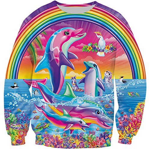 (YX GIRL Sweatshirts Lisa Frank Sweater Unisex 3D Funny Print Dolphins Crewneck Pullover Top(Dolphins, S))