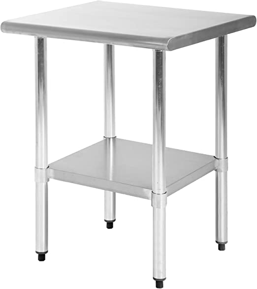 Kitchen Work Table Scratch Resistent and Antirust Metal Stainless Steel  Work Table with Adjustable Table Foot Scratch Resistent (Size 24W×24L)
