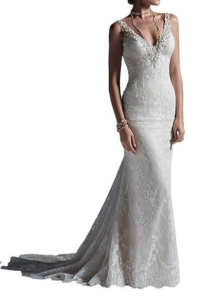 Charmant Mujer Glamour marfil Punta sirena suelo largo Vestidos de novia boda Vestidos Funda Nuevo beige