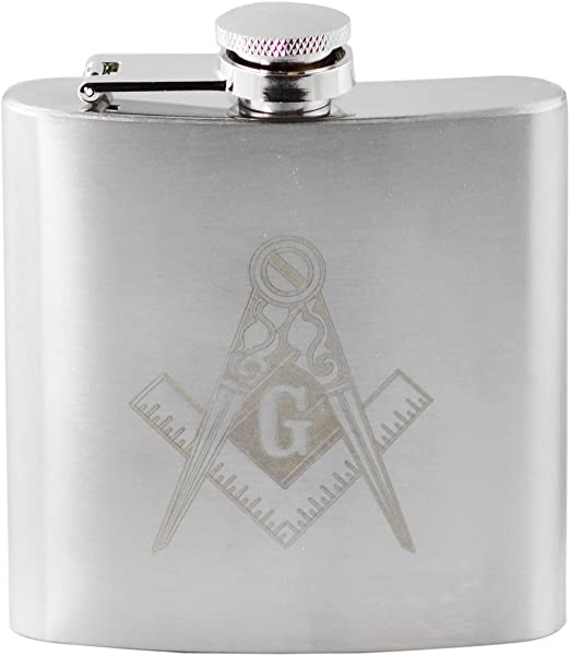 Masonic PERSONALISED Hip Flask Pocket 6oz Leather and Freemason Keyring Gift Set