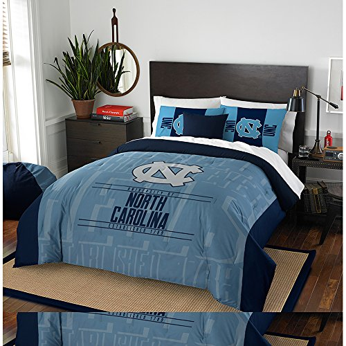 NCAA North Carolina Tar Heels Modern Take Two Sham Set, Carolina Blue, Full/Queen Size (North Carolina Comforter)