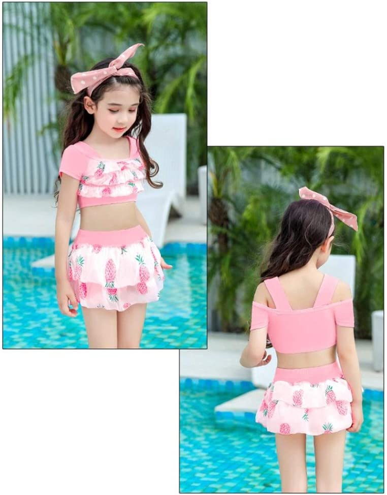3Pcs/Set Girl Printed Swimsuit Ruffles Split Swimsuit Set Summer Sunscreen Beachwear Swimwear,Pink L