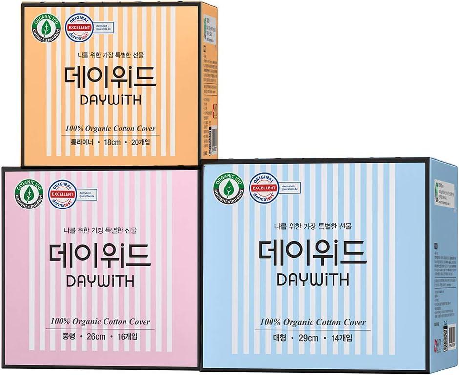 DAYWITH Premium 100% Organic Cotton Ultra Slim Menstrual Pads 3 Set (Long Liner 20ea / Regular 16ea / Large 14ea) - Dermatest Guaranteed Ultra Thin & Super Absorbency, Sanitary Pads for Women