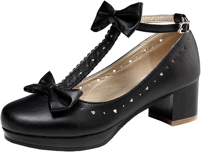 Details about Womens Shoes Sandals Pumps Block Heel Size 32 43 T Strap Mary Janes Bow show original title