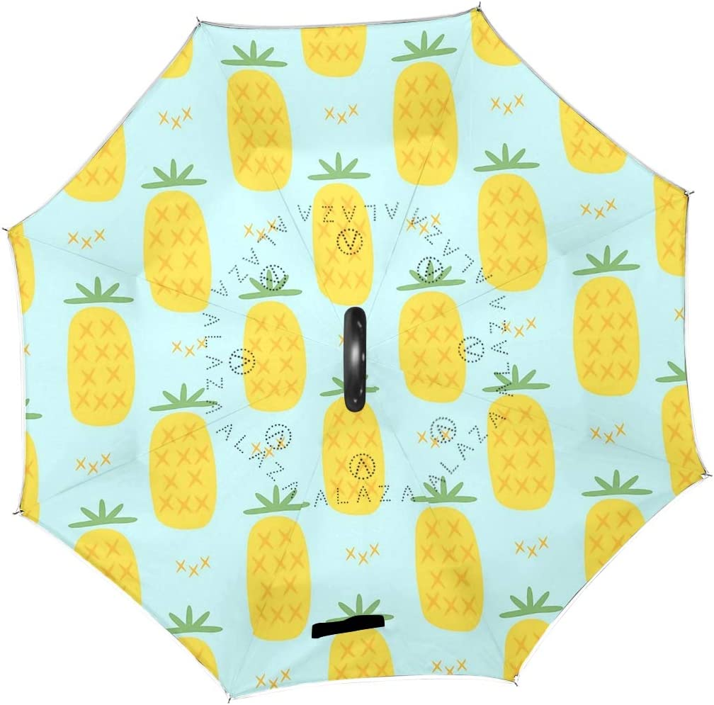 SLEPOPO Inverted Umbrella,Windproof UV Protection Big Straight Umbrella with C-Shaped Handle and Carrying Bag Cute Pineapple Pattern Double Layer Reverse