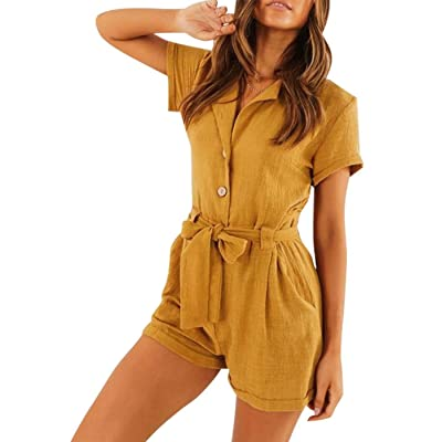 ALLTB Women Roll-up Sleeve V-Neck Button Romper Self Tie Belt Short Jumpsuit with Pockets: Clothing
