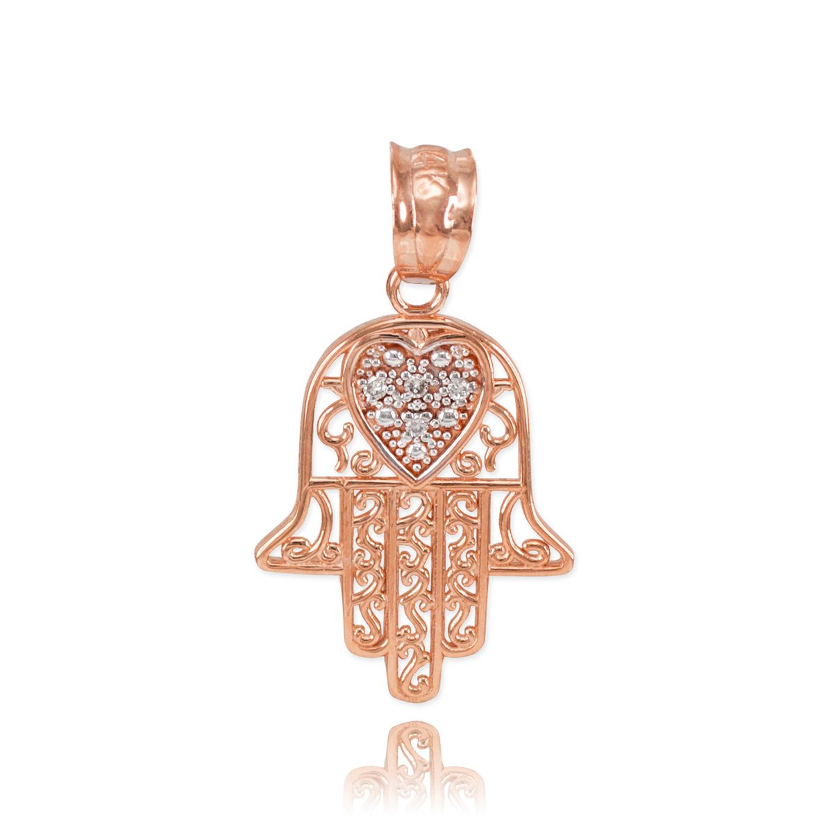 Solid 14k Rose Gold Diamond-Accented Heart Filigree-Style Hamsa Charm Pendant by Middle Eastern Jewelry