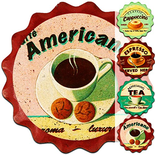 Janazala Absorbent Drink Coasters, Ceramic, Cork Coaster Attached In The Back, Unique Idea For Anniversary, Mom, Daughter or Sister, For Women Birthday, Wife or Grandma, Set of 4 (Coffee, Tea)